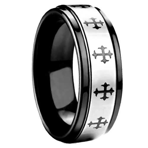 "8 mm Black Tungsten Cross Pattern ""Serenity"""