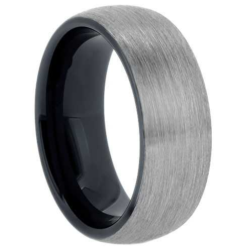 "8 mm Tungsten Rings - Black Sleeve ""Barclay"""