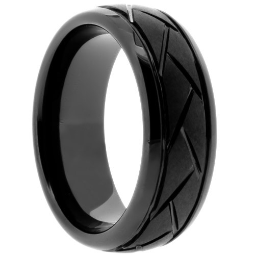 "8 mm Black Ceramic Rings - Domed/Grooved ""Knight"""