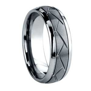 "8 mm Tungsten Rings - Carved Design ""Carmichael"""