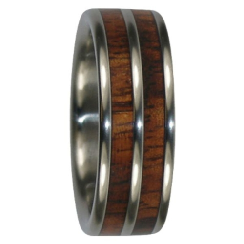 "8 mm Tungsten Rings - Dual KOA Wood Inlays ""King KOA"""