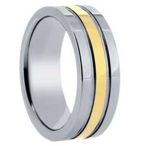 """8 mm Tungsten Rings - Gold Center Design """"Goldenrod"""""""