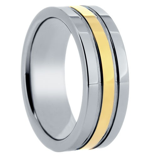 "8 mm Tungsten Rings - Gold Center Design ""Goldenrod"""