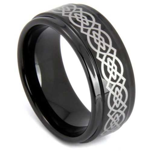 "8 mm Black Celtic Tungsten Rings - ""Black Celtic"""