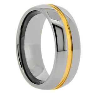 "8 mm Tungsten with Gold Resin Center ""Golden Groove"""