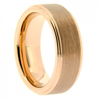"8 mm Rose Gold Tungsten with Matte Center ""Step Rose"""
