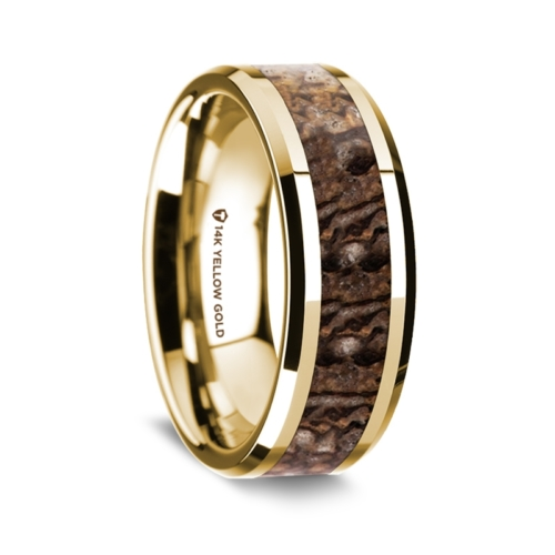 "8 mm 14 Kt. Yellow Gold & Dinosaur Bone Inlay ""Brown Dino 14"""