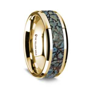 "8 mm 14 Kt. Yellow Gold & Dinosaur Bone Inlay ""Blue Dino 14"""