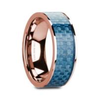 """8 mm 14 Kt. Rose Gold & Blue Carbon Fiber Inlay """"Limited"""""""
