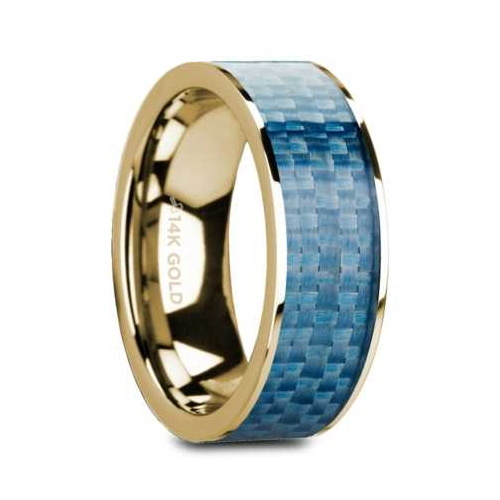 "8 mm 14 Kt. Yellow Gold & Blue Carbon Fiber Inlay ""Gyro"""