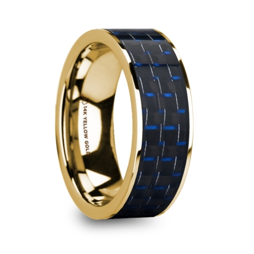 "8 mm 14 Kt. Yellow Gold & Black/Blue Carbon Fiber Inlay ""Yellow Halo"""