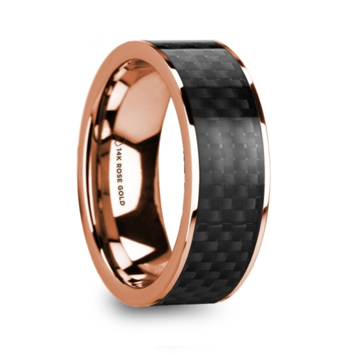 "8 mm 14 Kt. Rose Gold & Black Carbon Fiber Inlay ""Rosey"""