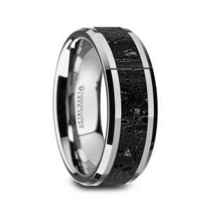 "8 mm Tungsten with Black/Gray Lava Rock ""Karson"""