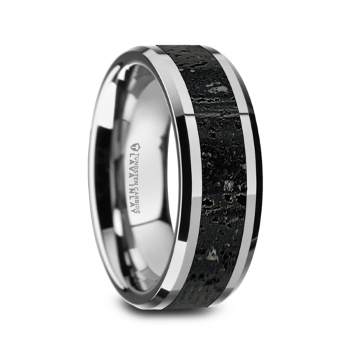 "8 mm Tungsten with Black/Gray Lava Rock ""Karson"""