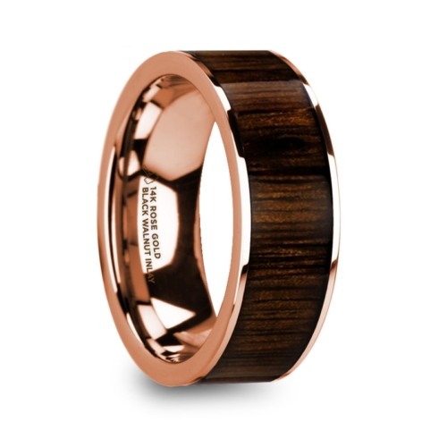 "8 mm 14 Kt. Rose Gold & Black Walnut Inlay ""Man Of War"""