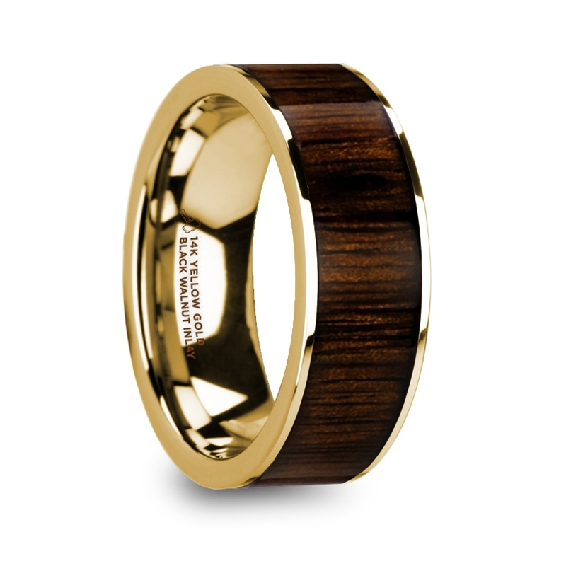 """8 mm 14 Kt. Yellow Gold & Black Walnut Inlay """"Gold Walnut"""""""