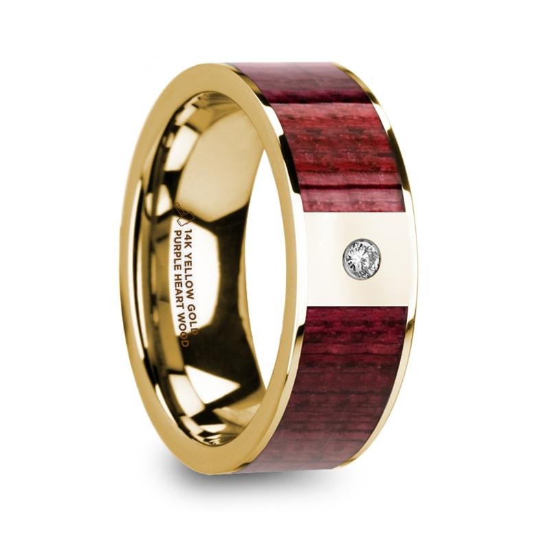 "8 mm 14 Kt. Yellow Gold & Purple Heart Inlay/Diamond ""Purple Majesty"""