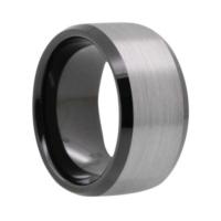 "12 mm Brushed Black Tungsten Rings ""Bradford"""
