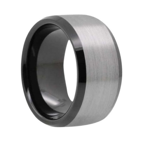 "12 mm Brushed Black Tungsten Rings ""Bradford"""