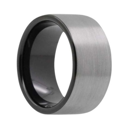 "12 mm Brushed Black Tungsten Rings ""Bristol"""
