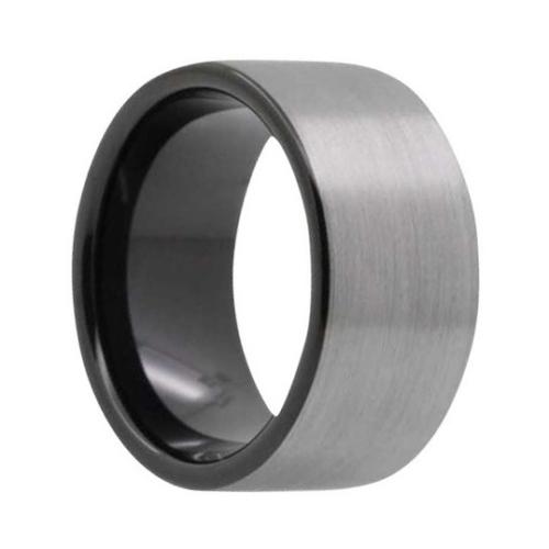 "12 mm Brushed Black Tungsten Rings ""Bristol"""