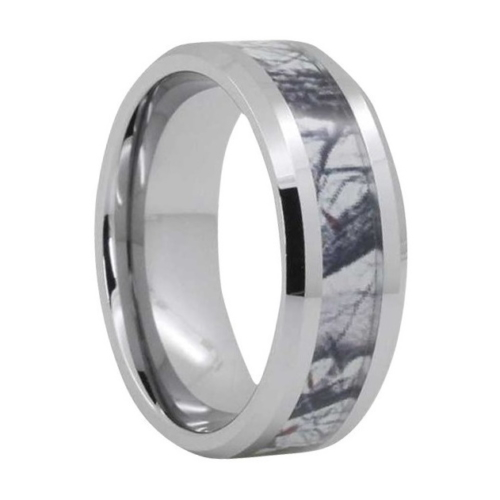 "8 mm Camo Design Tungsten Rings ""Oxford"""