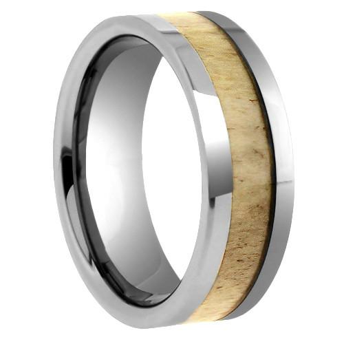 "8 mm Tungsten Rings - Antler Design ""Deer Antler"""