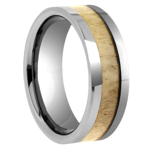 "8 mm Tungsten Rings - Antler Design ""Deer Antler"""