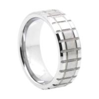 "8 mm Matrix Design Tungsten Rings ""Newcastle"""