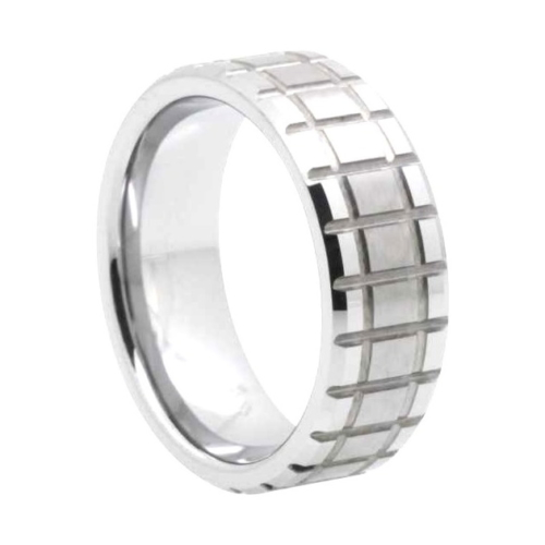"8 mm Matrix Design Tungsten Rings ""Newcastle"""