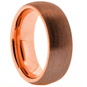 "8 mm Brown Tungsten Rose Gold Plated Sleeve ""Brown Rose"""