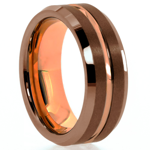 "8 mm Brown Tungsten Rose Gold Plated Sleeve/Groove ""Brown Rose Groove"""