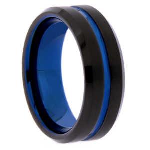 "8 mm Matte Black Tungsten & Blue Sleeve/Groove ""Blue Lagoon"""