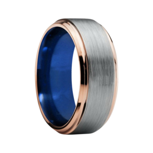 "8 mm Tungsten Rings - Gold Step Edges and Blue Sleeve Design ""Champagne"""