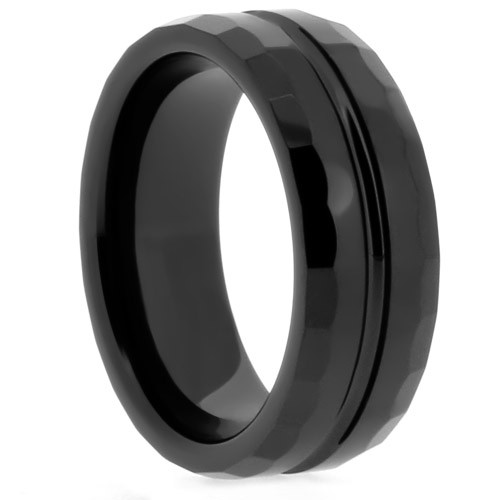 "8 mm Black Ceramic Rings - Carved/Grooved ""Black Matrix"""