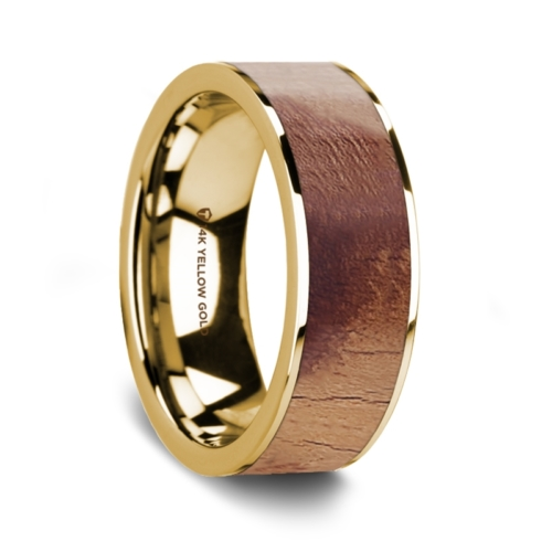 "8 mm 14 Kt. Yellow Gold & Olive Wood Inlay ""Gambler"""
