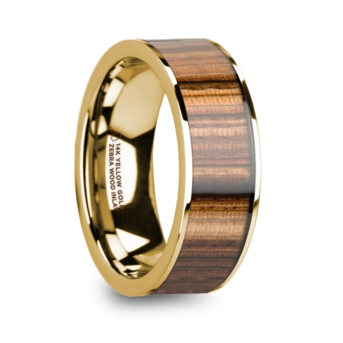 "8 mm 14 Kt. Yellow Gold & Zebra Wood Inlay ""Gentile"""
