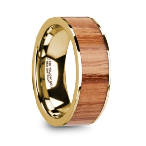 "8 mm 14 Kt. Yellow Gold & Red Oak Wood Inlay ""Plato"""