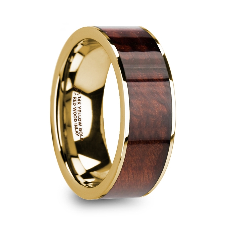 "8 mm 14 Kt. Yellow Gold & Redwood Inlay ""Spinster"""