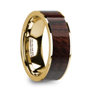"8 mm 14 Kt. Yellow Gold & Bubinga Wood Inlay ""Sandite"""