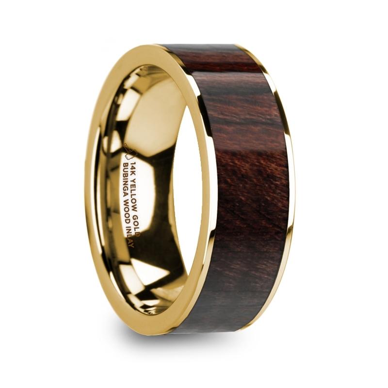 """8 mm 14 Kt. Yellow Gold & Bubinga Wood Inlay """"Sandite"""""""