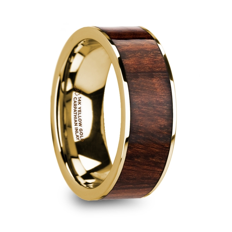 "8 mm 14 Kt. Yellow Gold & Carpathian Wood Inlay ""Sonoro"""