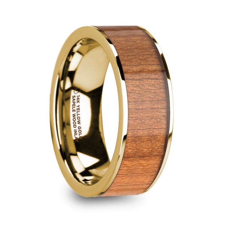 """8 mm 14 Kt. Yellow Gold & Sapele Wood Inlay """"Orion"""""""