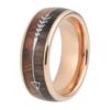 "8 mm Tungsten Rings - Arrow Design with KOA/Zebra Wood Inlay and Rose Gold Sleeve ""Arrow"""