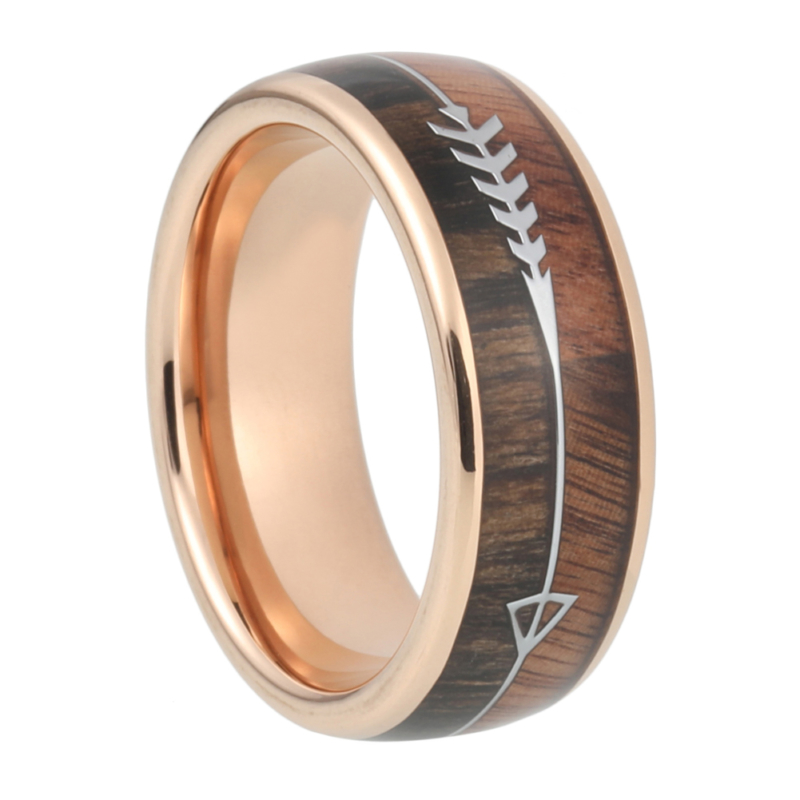 "8 mm Tungsten Rings - Arrow Design with KOA/Zebra Wood Inlay and Rose Gold Sleeve ""Arrow"""