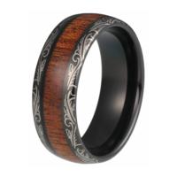 "8 mm Tungsten Rings - Laser Edges and KOA Wood Design ""Laser"""