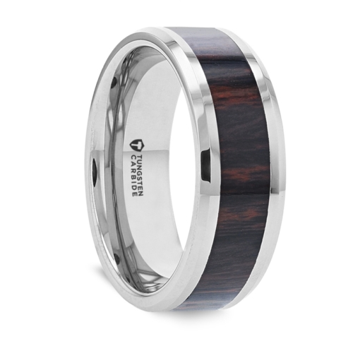 "8 mm Tungsten & Mahogany Obsidian Inlay ""Hogan"""