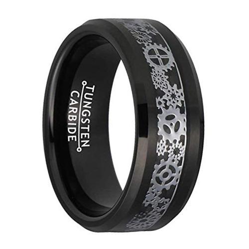 "8 mm Tungsten Rings - Intricate Gear Patterns Design ""Black Gear"""