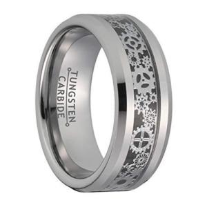 "8 mm Tungsten Rings - Intricate Gear Patterns Design ""Gear"""