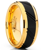 """8 mm Black Tungsten & Yellow Gold """"Black Lace"""""""
